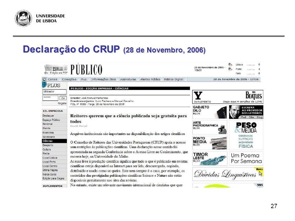 27 Declaração do CRUP (28 de Novembro, 2006)