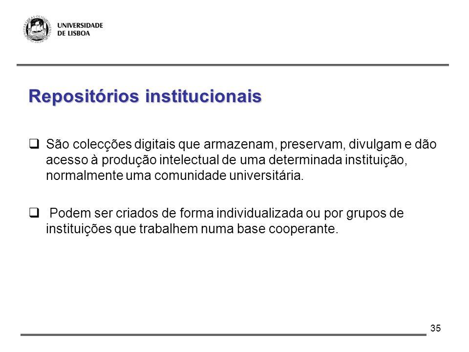 35 Repositórios institucionais São colecções digitais que armazenam, preservam, divulgam e dão acesso à produção intelectual de uma determinada instit