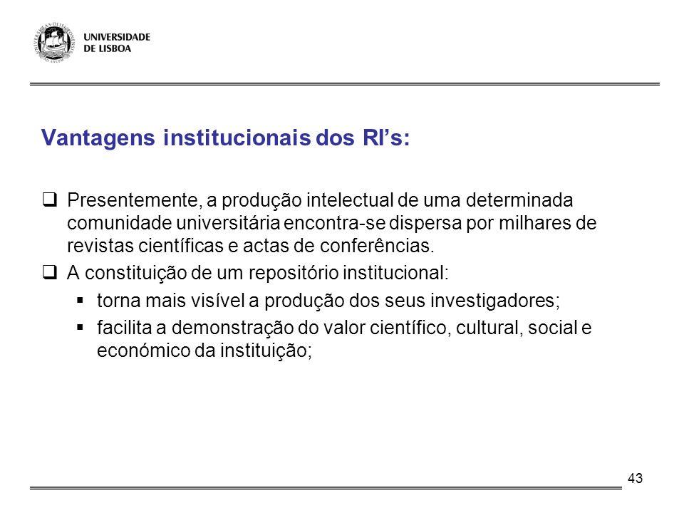 43 Vantagens institucionais dos RIs: Presentemente, a produção intelectual de uma determinada comunidade universitária encontra-se dispersa por milhar