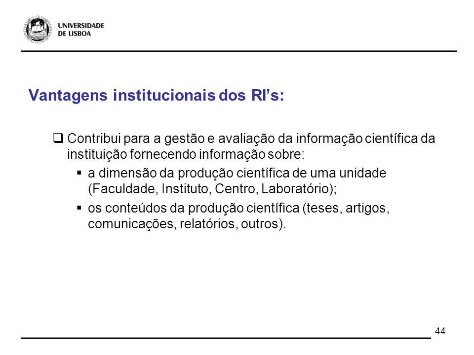 44 Vantagens institucionais dos RIs: Contribui para a gestão e avaliação da informação científica da instituição fornecendo informação sobre: a dimens