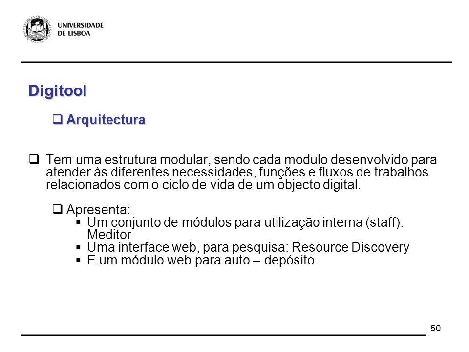 50 Digitool Arquitectura Arquitectura Tem uma estrutura modular, sendo cada modulo desenvolvido para atender às diferentes necessidades, funções e flu