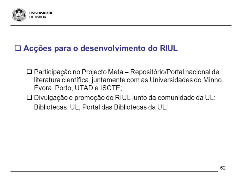 62 Acções para o desenvolvimento do RIUL Participação no Projecto Meta – Repositório/Portal nacional de literatura científica, juntamente com as Unive