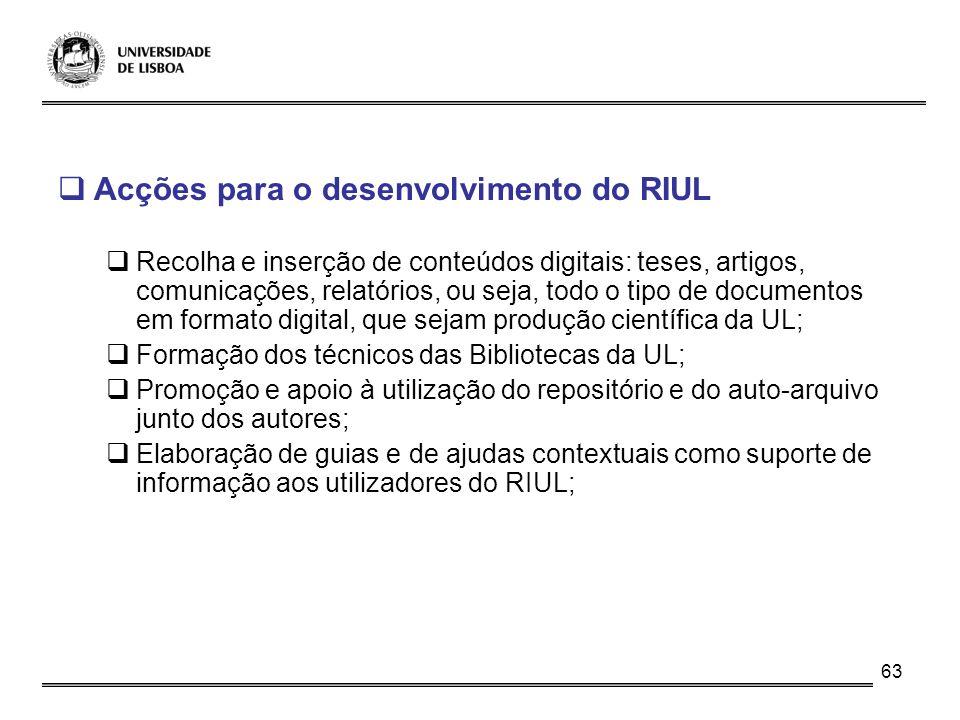 63 Acções para o desenvolvimento do RIUL Recolha e inserção de conteúdos digitais: teses, artigos, comunicações, relatórios, ou seja, todo o tipo de d