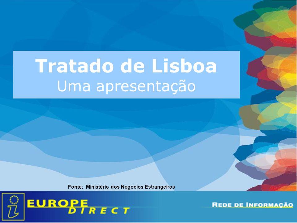 Tratado de Lisboa Uma apresentação Fonte: Ministério dos Negócios Estrangeiros