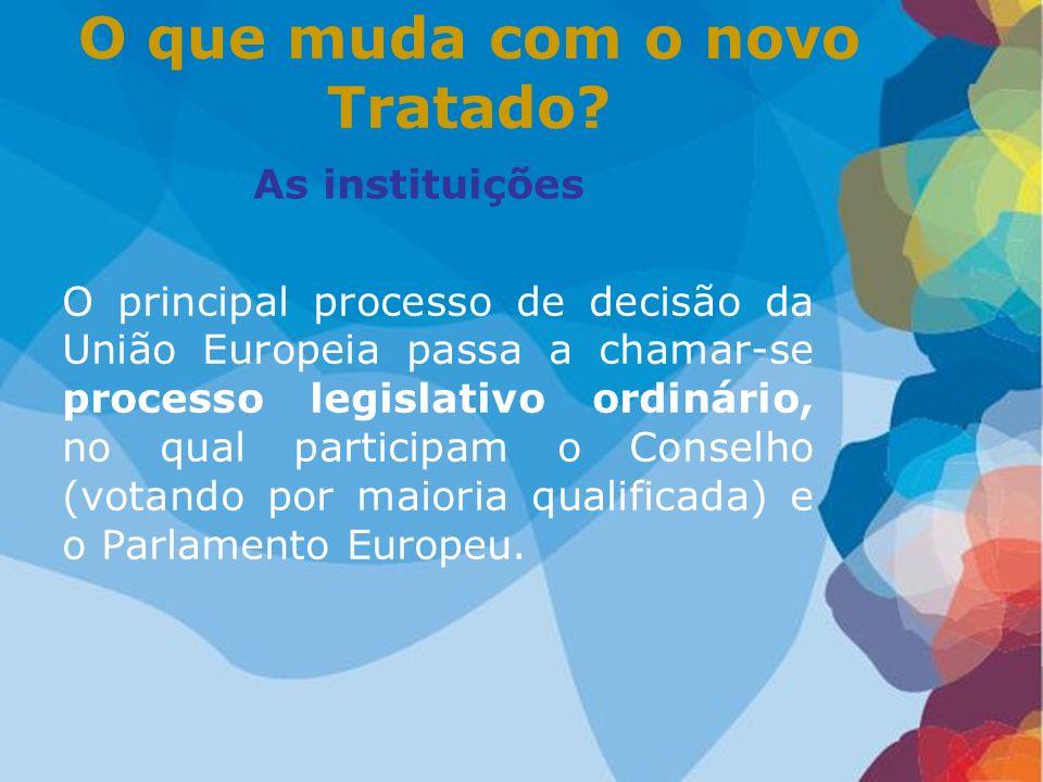 As instituições O principal processo de decisão da União Europeia passa a chamar-se processo legislativo ordinário, no qual participam o Conselho (vot