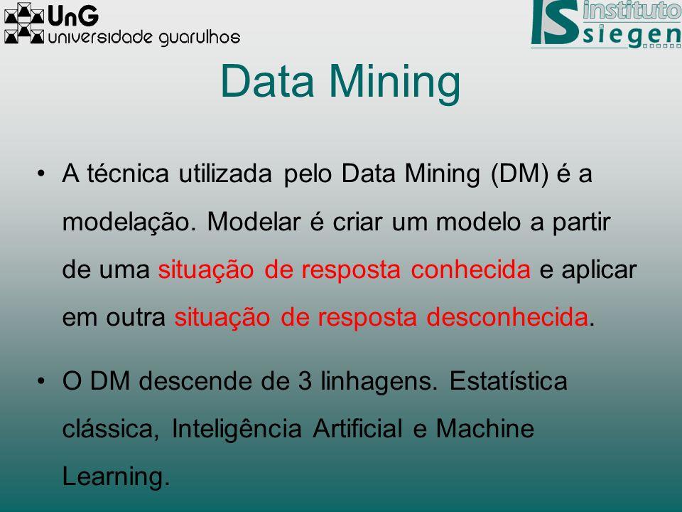 Data Mining A técnica utilizada pelo Data Mining (DM) é a modelação. Modelar é criar um modelo a partir de uma situação de resposta conhecida e aplica