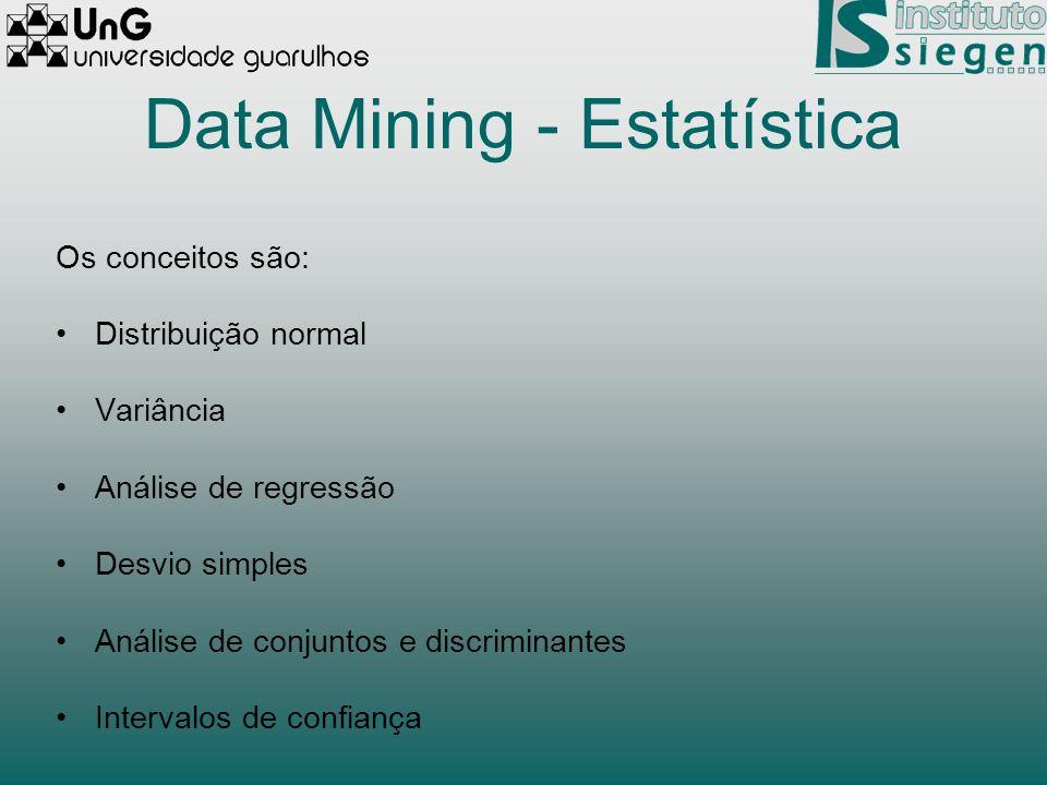 Data Mining - Estatística Os conceitos são: Distribuição normal Variância Análise de regressão Desvio simples Análise de conjuntos e discriminantes In