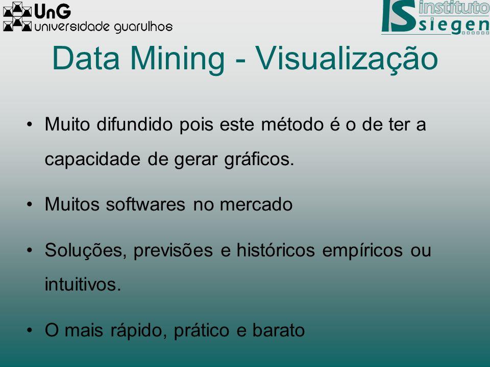 Data Mining - Visualização Muito difundido pois este método é o de ter a capacidade de gerar gráficos. Muitos softwares no mercado Soluções, previsões