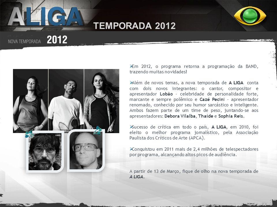 TEMPORADA 2012 Em 2012, o programa retorna a programação da BAND, trazendo muitas novidades! A LIGA. Além de novos temas, a nova temporada de A LIGA c
