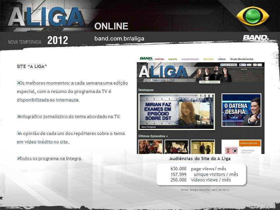 ONLINE band.com.br/aliga SITE A LIGA Os melhores momentos: a cada semana uma edição especial, com o resumo do programa da TV é disponibilizada ao inte