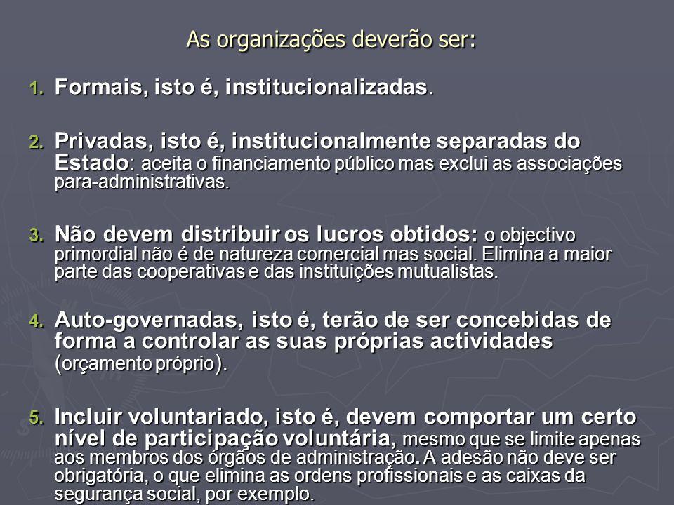 As organizações deverão ser: 1. Formais, isto é, institucionalizadas. 2. Privadas, isto é, institucionalmente separadas do Estado: aceita o financiame
