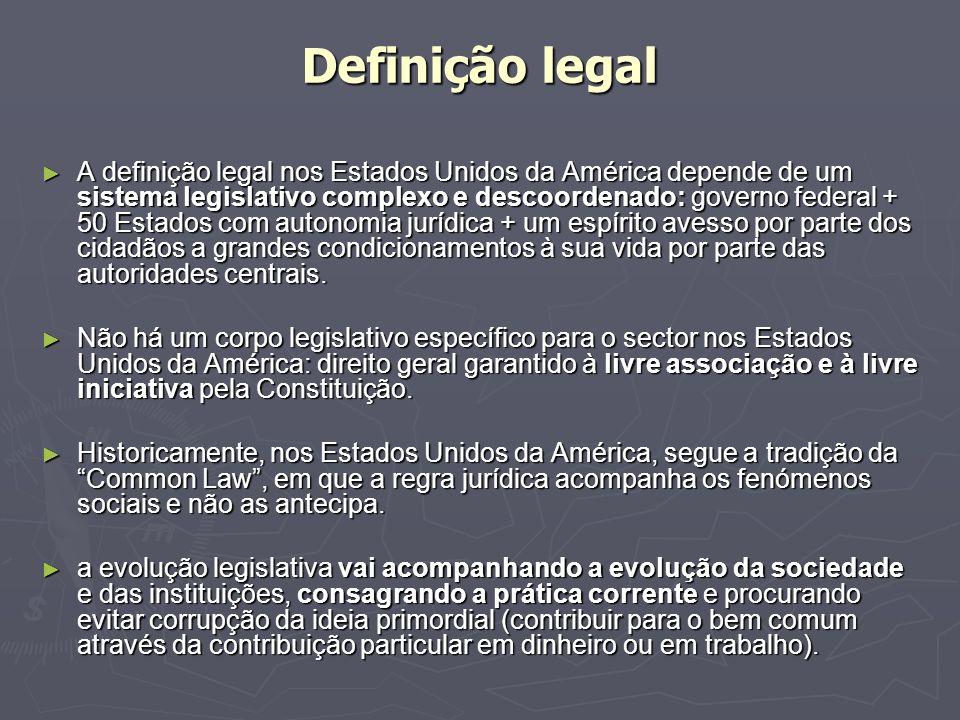 Definição legal A definição legal nos Estados Unidos da América depende de um sistema legislativo complexo e descoordenado: governo federal + 50 Estad