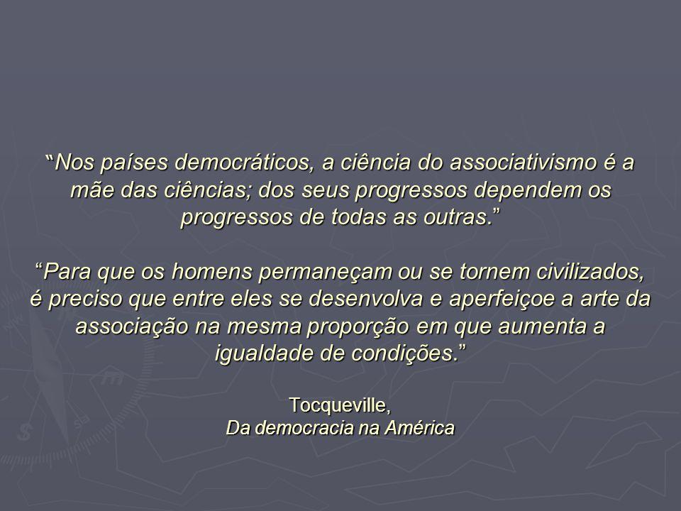 Nos países democráticos, a ciência do associativismo é a mãe das ciências; dos seus progressos dependem os progressos de todas as outras.Para que os h