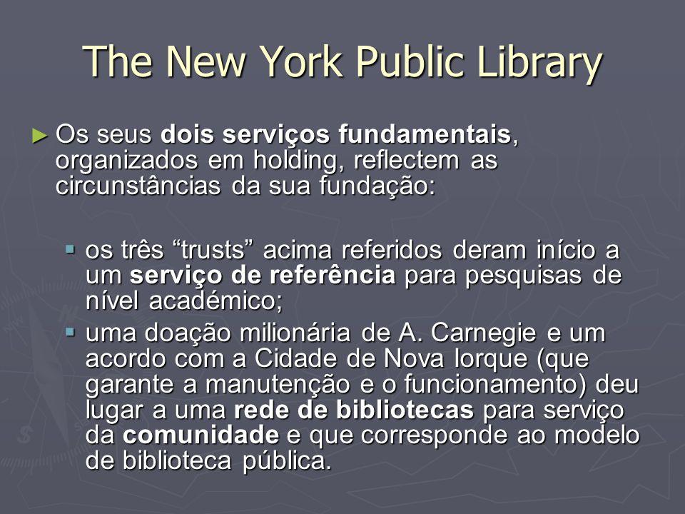 The New York Public Library Os seus dois serviços fundamentais, organizados em holding, reflectem as circunstâncias da sua fundação: Os seus dois serv