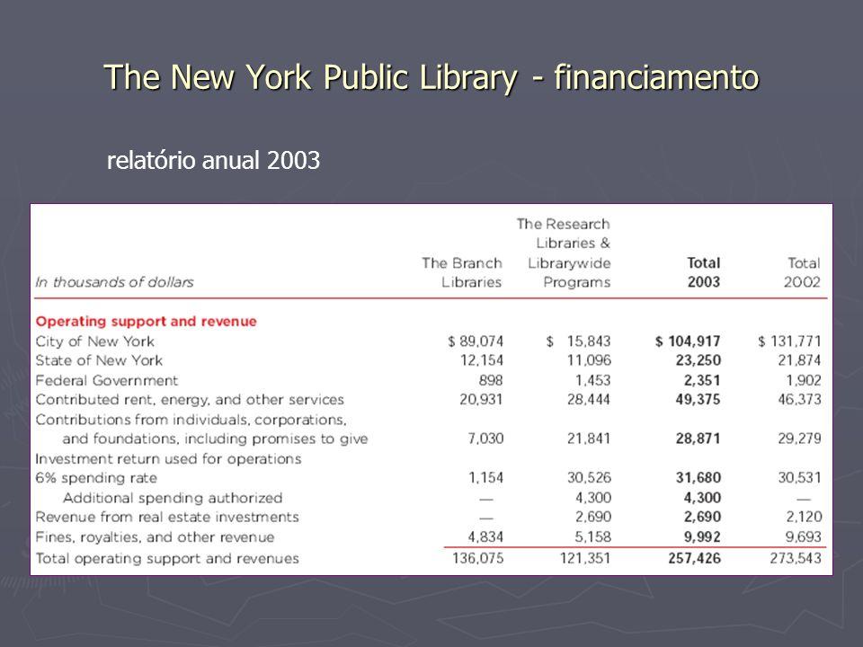 The New York Public Library - financiamento relatório anual 2003