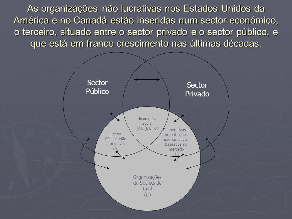 As organizações não lucrativas nos Estados Unidos da América e no Canadá estão inseridas num sector económico, o terceiro, situado entre o sector priv
