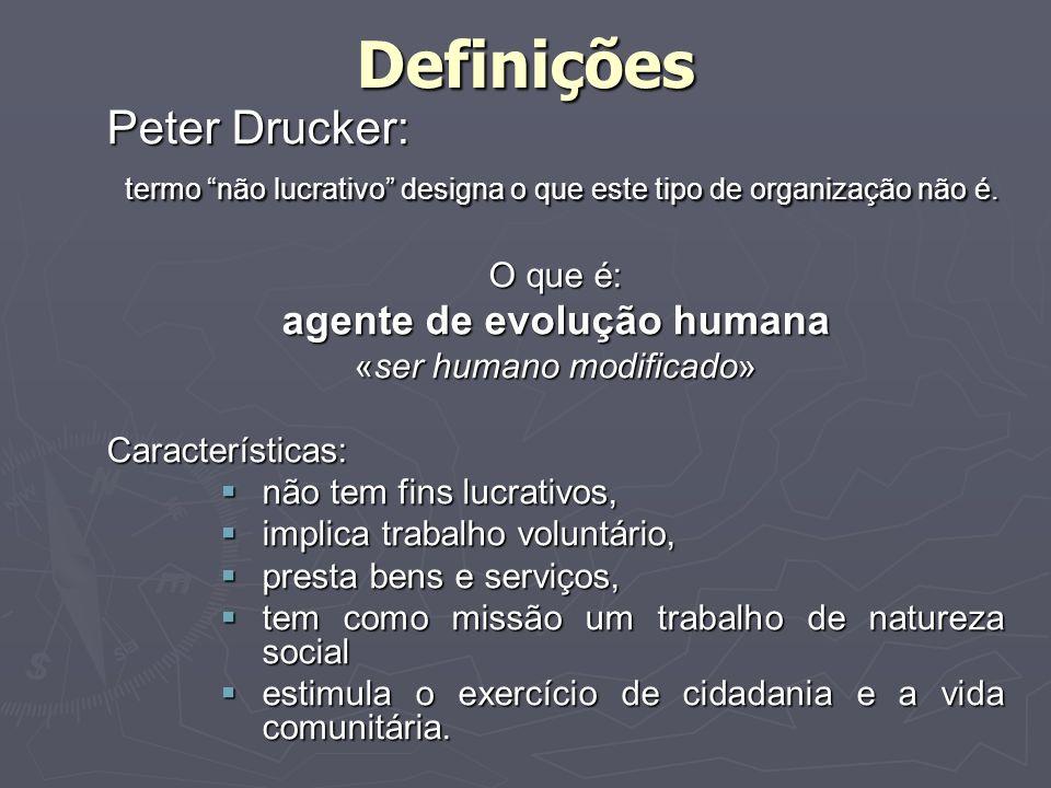 Definições Peter Drucker: termo não lucrativo designa o que este tipo de organização não é. termo não lucrativo designa o que este tipo de organização