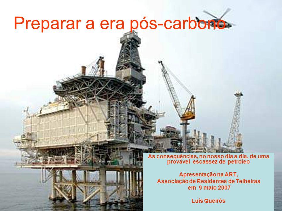 Preparar a era pós-carbono As consequências, no nosso dia a dia, de uma provável escassez de petróleo Apresentação na ART, Associação de Residentes de