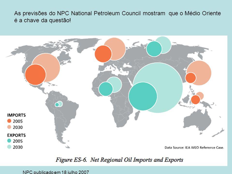 As previsões do NPC National Petroleum Council mostram que o Médio Oriente é a chave da questão! NPC publicado em 18 julho 2007