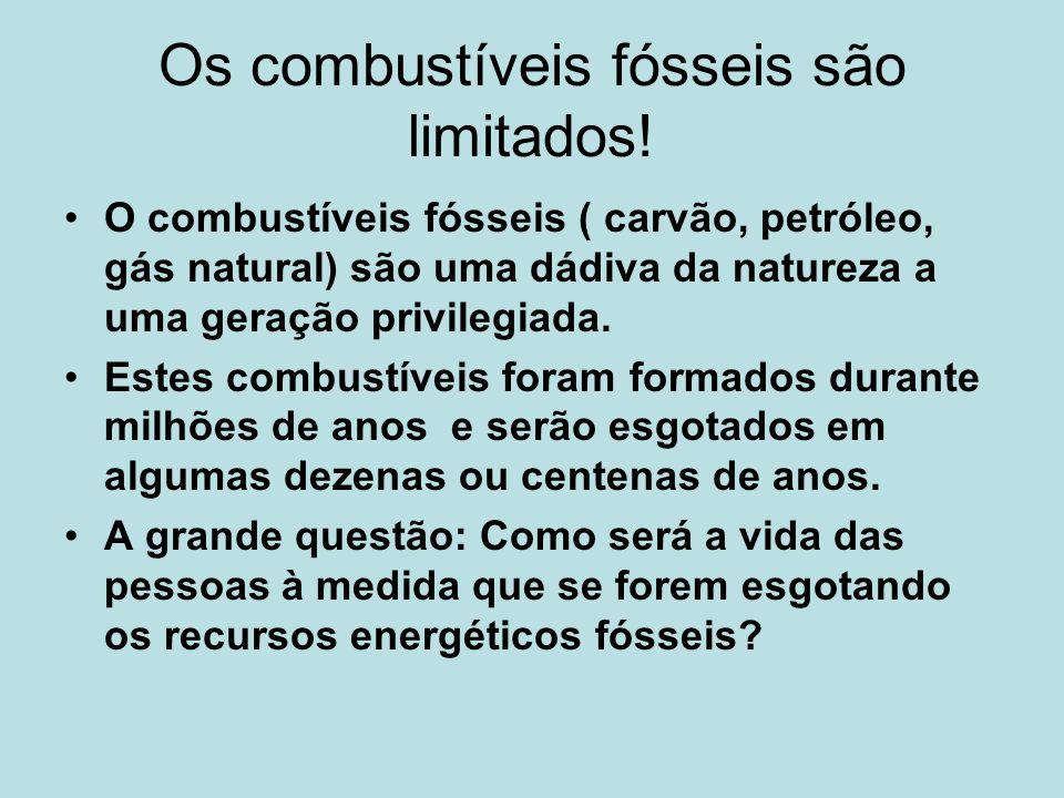 Os combustíveis fósseis são limitados! O combustíveis fósseis ( carvão, petróleo, gás natural) são uma dádiva da natureza a uma geração privilegiada.
