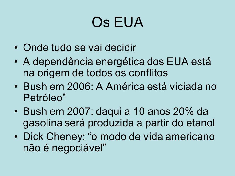 Os EUA Onde tudo se vai decidir A dependência energética dos EUA está na origem de todos os conflitos Bush em 2006: A América está viciada no Petróleo