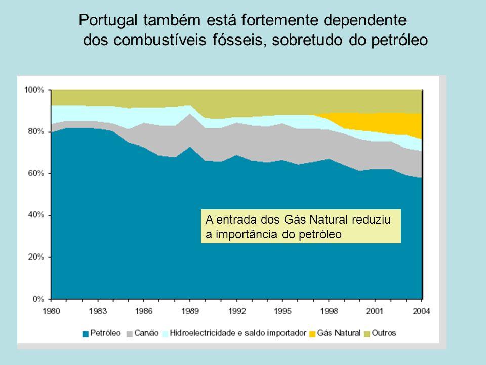 Portugal também está fortemente dependente dos combustíveis fósseis, sobretudo do petróleo A entrada dos Gás Natural reduziu a importância do petróleo