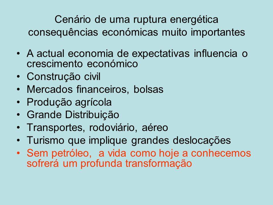 Cenário de uma ruptura energética consequências económicas muito importantes A actual economia de expectativas influencia o crescimento económico Cons