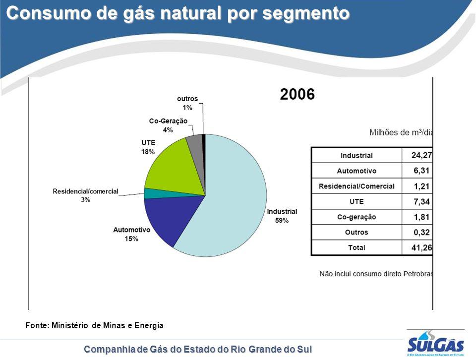 Companhia de Gás do Estado do Rio Grande do Sul Consumo de gás natural por segmento Consumo de gás natural por segmento Fonte: Ministério de Minas e E