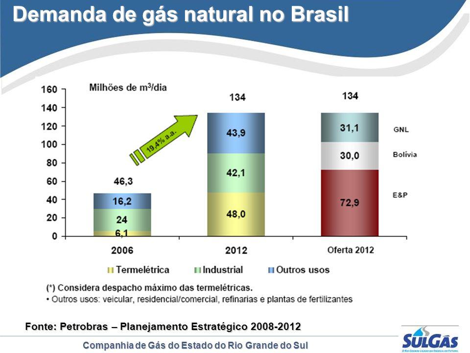 Companhia de Gás do Estado do Rio Grande do Sul Demanda de gás natural no Brasil Fonte: Petrobras Fonte: Petrobras – Planejamento Estratégico 2008-201