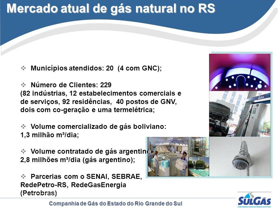Companhia de Gás do Estado do Rio Grande do Sul Municípios atendidos: 20 (4 com GNC); Número de Clientes: 229 (82 indústrias, 12 estabelecimentos come