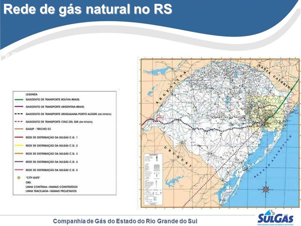 Companhia de Gás do Estado do Rio Grande do Sul Rede de gás natural no RS Extensão da rede: 437km Investimentos: R$ 160 milhões