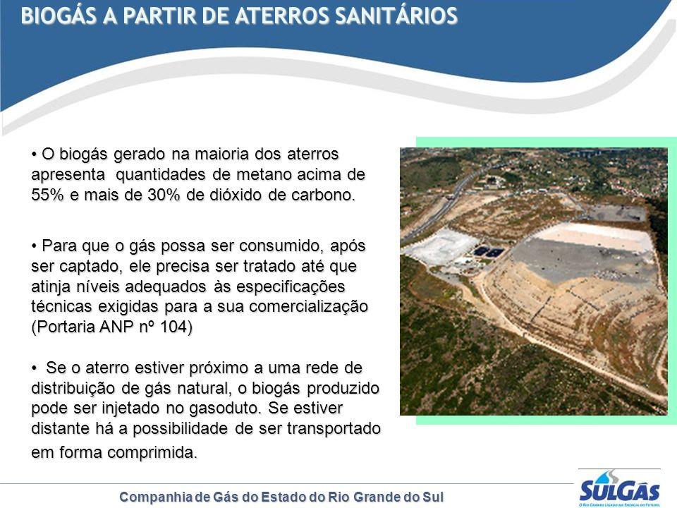 Companhia de Gás do Estado do Rio Grande do Sul BIOGÁS A PARTIR DE ATERROS SANITÁRIOS BIOGÁS A PARTIR DE ATERROS SANITÁRIOS O biogás gerado na maioria