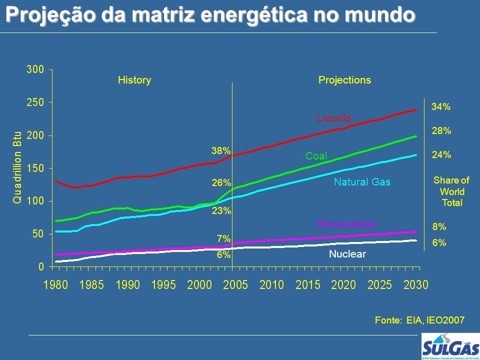 Companhia de Gás do Estado do Rio Grande do Sul Projeção da matriz energética no mundo Liquids Natural Gas Coal Renewables Nuclear HistoryProjections