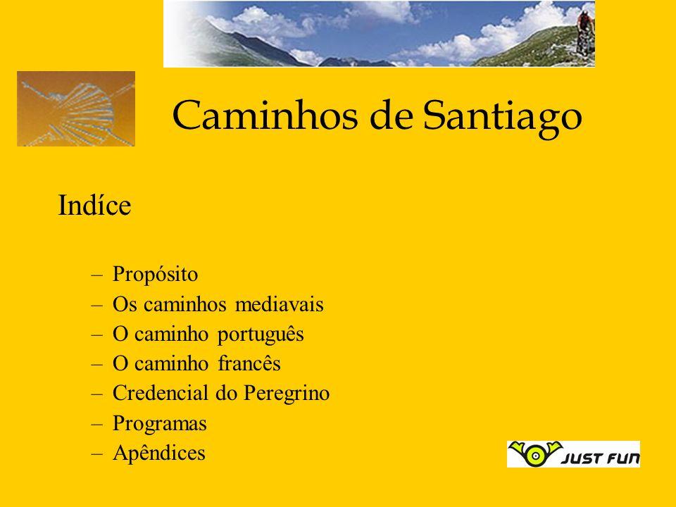 Caminhos de Santiago Indíce –Propósito –Os caminhos mediavais –O caminho português –O caminho francês –Credencial do Peregrino –Programas –Apêndices