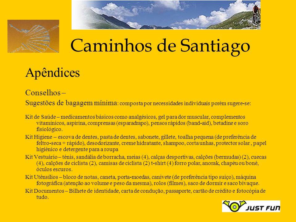Caminhos de Santiago Apêndices Conselhos – Sugestões de bagagem mínima : composta por necessidades individuais porém sugere-se: Kit de Saúde – medicam
