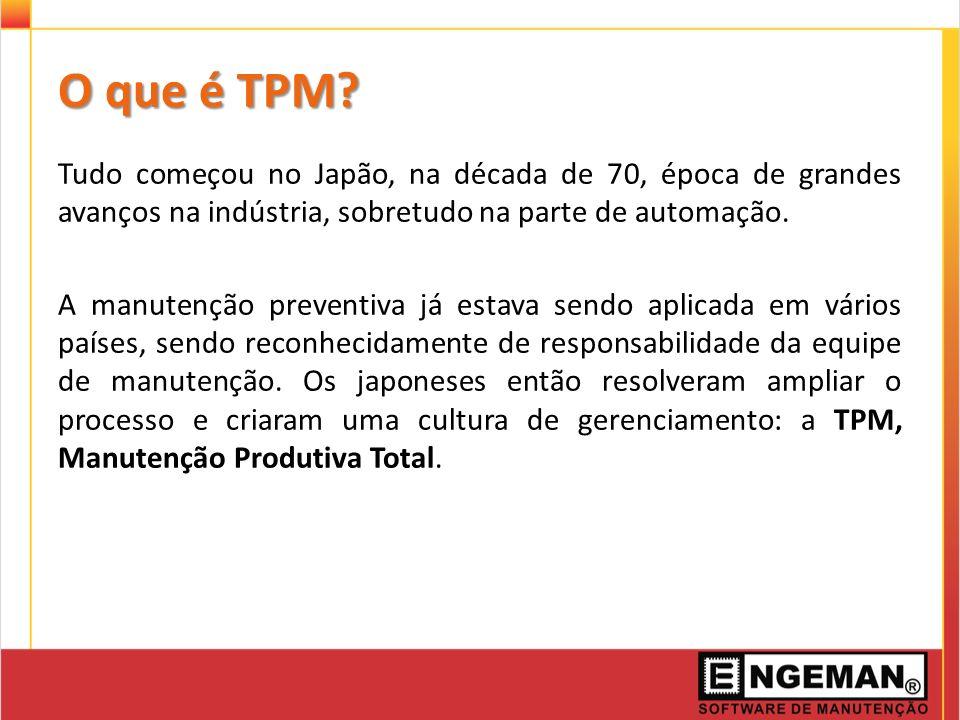O que é TPM? Tudo começou no Japão, na década de 70, época de grandes avanços na indústria, sobretudo na parte de automação. A manutenção preventiva j