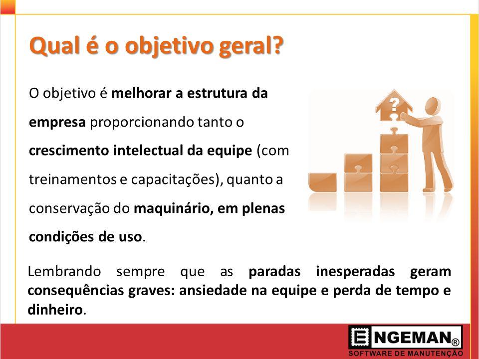 Qual é o objetivo geral? O objetivo é melhorar a estrutura da empresa proporcionando tanto o crescimento intelectual da equipe (com treinamentos e cap