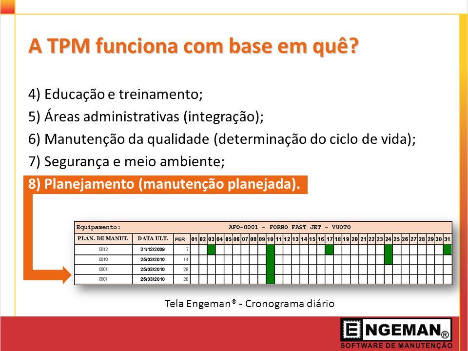 A TPM funciona com base em quê? 4) Educação e treinamento; 5) Áreas administrativas (integração); 6) Manutenção da qualidade (determinação do ciclo de