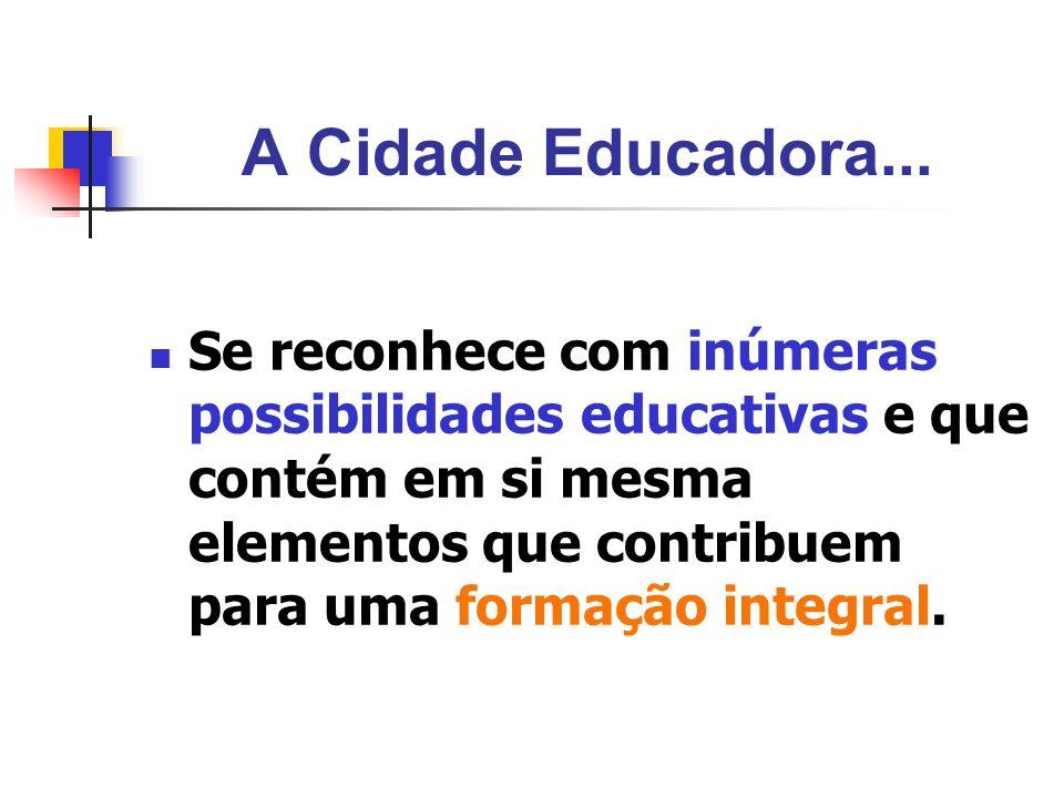 A Cidade Educadora... Se reconhece com inúmeras possibilidades educativas e que contém em si mesma elementos que contribuem para uma formação integral