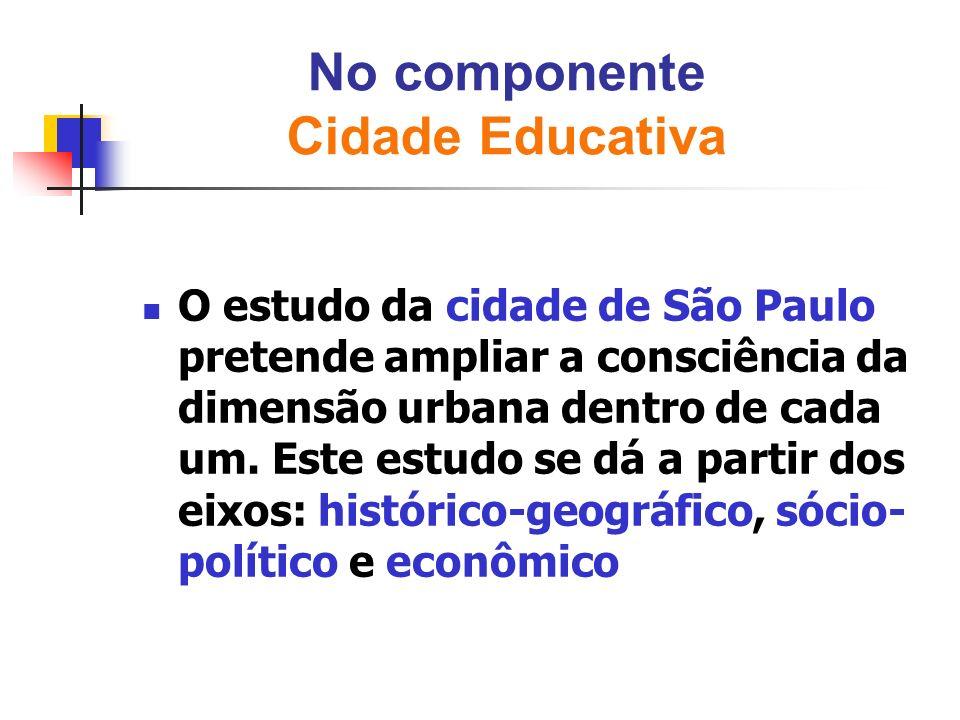 No componente Cidade Educativa O estudo da cidade de São Paulo pretende ampliar a consciência da dimensão urbana dentro de cada um. Este estudo se dá
