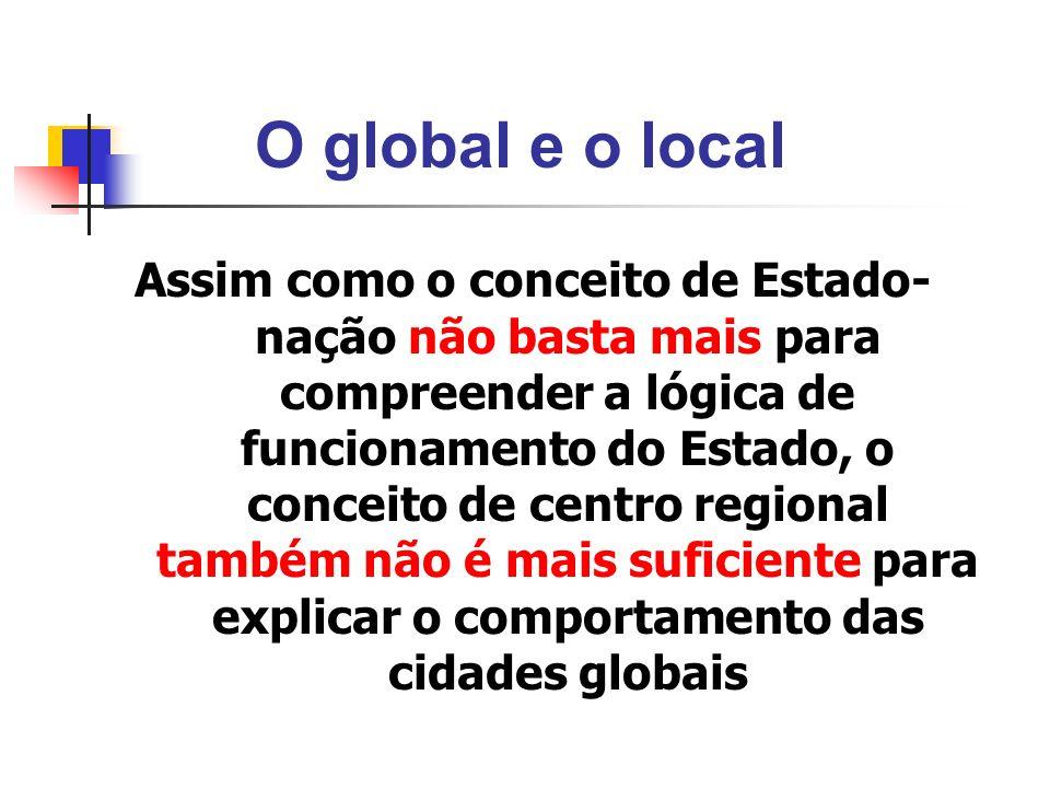 O global e o local Assim como o conceito de Estado- nação não basta mais para compreender a lógica de funcionamento do Estado, o conceito de centro re