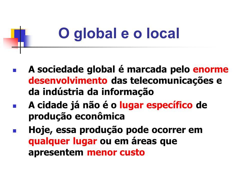 O global e o local A sociedade global é marcada pelo enorme desenvolvimento das telecomunicações e da indústria da informação A cidade já não é o luga