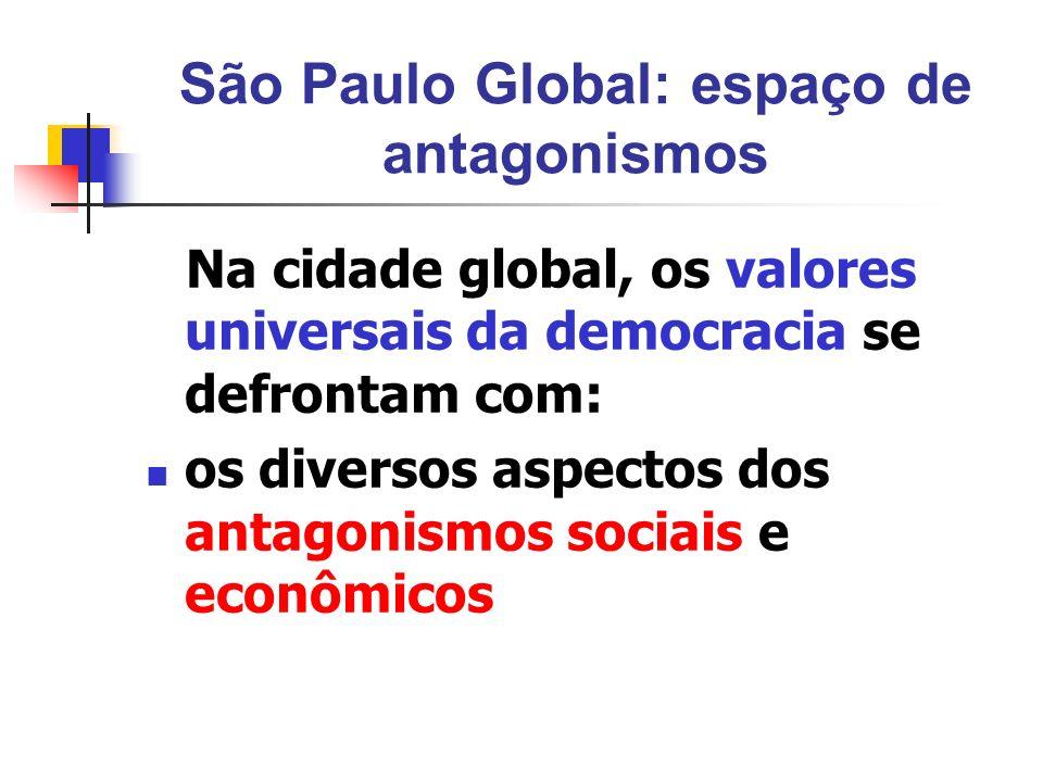 São Paulo Global: espaço de antagonismos Na cidade global, os valores universais da democracia se defrontam com: os diversos aspectos dos antagonismos