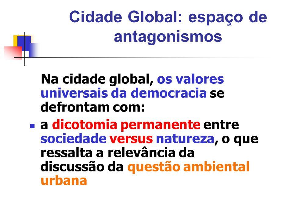 Cidade Global: espaço de antagonismos Na cidade global, os valores universais da democracia se defrontam com: a dicotomia permanente entre sociedade v