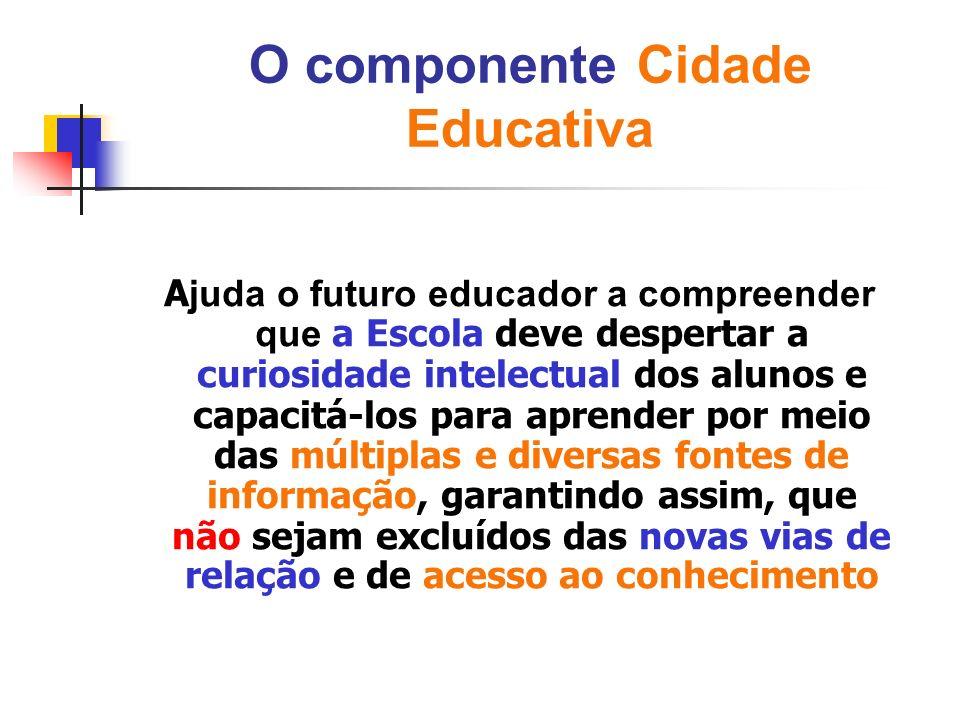 O componente Cidade Educativa A juda o futuro educador a compreender que a Escola deve despertar a curiosidade intelectual dos alunos e capacitá-los p