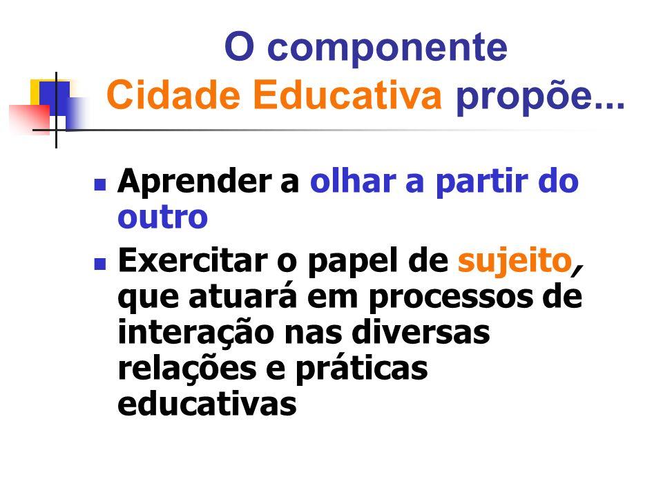 O componente Cidade Educativa propõe...