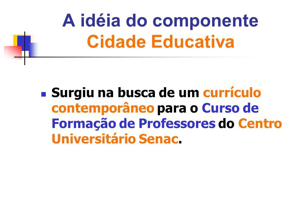 A idéia do componente Cidade Educativa Surgiu na busca de um currículo contemporâneo para o Curso de Formação de Professores do Centro Universitário S