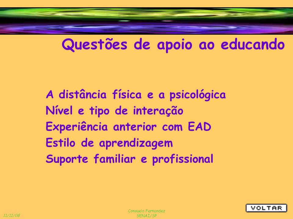 11/11/08 Consuelo Fernandez SENAI/SP A distância física e a psicológica Questões de apoio ao educando Suporte familiar e profissional Experiência ante