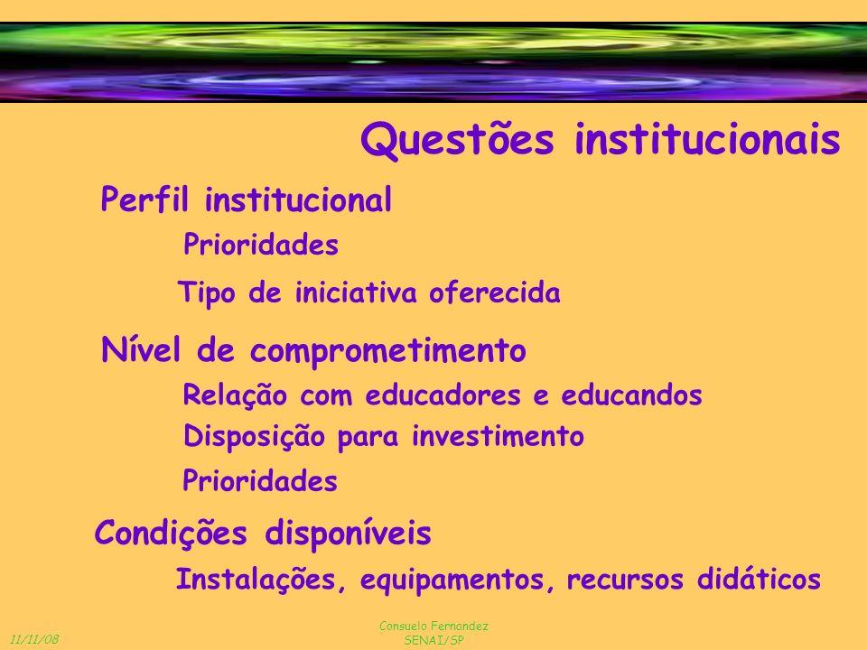 11/11/08 Consuelo Fernandez SENAI/SP Perfil institucional Questões institucionais Condições disponíveis Nível de comprometimento Prioridades Tipo de i