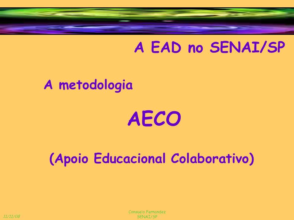 11/11/08 Consuelo Fernandez SENAI/SP A EAD no SENAI/SP A metodologia AECO (Apoio Educacional Colaborativo)